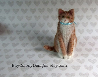Needle-Felted Wool Cat Animal Soft Sculpture  - READY TO SHIP (42816)