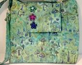 Violet Teal Green Batik Purse or Bag with Mushrooms and Flowers