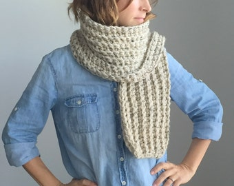 Chunky scarf ~ ribbed scarf ~ open ended ~ wool scarf ~ style #1015 shown in Oatmeal ~ choose your own color