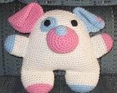 Crocheted Ashton the Dog - Baby-Safe Sewn-On Eyes - 100% Cotton and Acrylic Stuffing  (SA1-001)