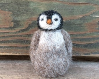 Needle Felted Baby Penguin Sculpture