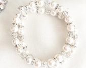 Two Strand Bridal Bracelet, Fireball Pearl Wedding Bracelet for the Bride, Swarovski Pearls and Rhinestones
