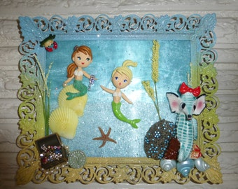 Hold for Amanda OOAK Playful Mermaids Under the Sea 3D Collage w Polymer Clay and Vintage Items