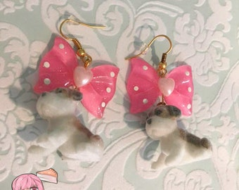 Flocked Puppy Dog Pink Bow Earrings