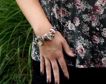 "Pink Lampwork Bracelet, silver bracelet, heart bracelet, wire wrap bracelet, rose bracelet - womens jewelry -  length 8.7"""