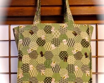 Japanese Tote Bag, Maneki Neko & Green Hexagons TIGHT 'N' TIDY Tote Bag, Reusable Folding Shopping Bag, Kawaii Cat Bag, White Cat, Black Cat