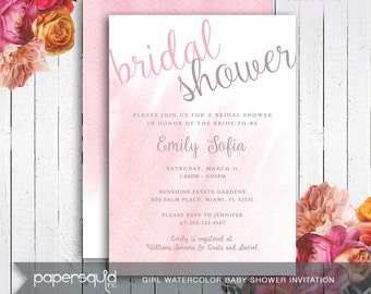 Bridal Shower Watercolor Invitation - 3 Color Choices - Will be customized with your information - Digital DIY Printable File -  Item 172