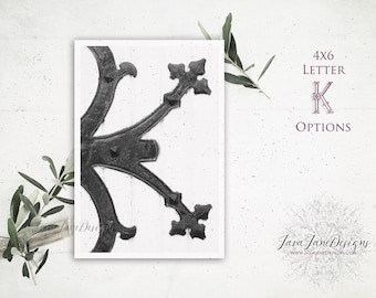 Letter K Photo | Monogram Print | Initial for Wedding Monogram Design | Reception Table Rustic Wedding KISS Me | Gothic Home Décor