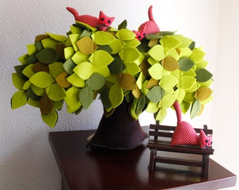 Willlow Tree Felt Tree with Crazy Red cats Housewarming gift Wind in the willow