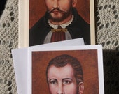 Saint Edmund Campion Priest, Martyr, Stationary Cards with Envleope, White and Ivory Card Stock taken from my Original Acrylic Painting