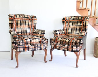 Plaid Velvet Upholstered Wingback Armchairs (Set of 2)