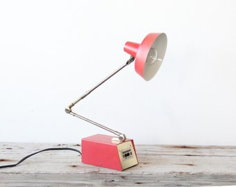 Mid Century Coral Red & Brass Tensor Lamp