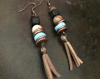 Stacked matte black beads, jasper, turquoise disc, beaded earrings wire wrapped with antique bronze wire and tan suede tassle dangle
