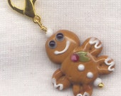 Gingerbread Man Stitch Marker Clip Christmas Cookie Lampwork Boy Each/ SM12A
