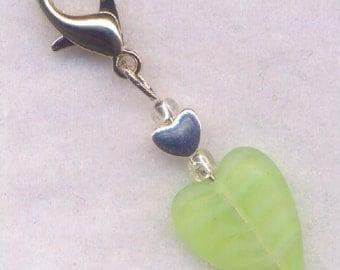 Heart Stitch Marker Clip Green Sorbet Stripey Lickety Lime Heart Single /SM216B