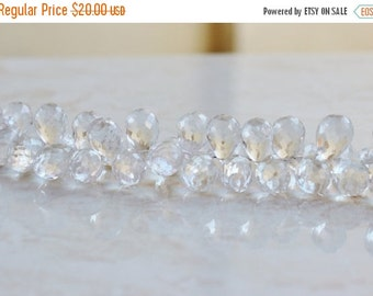 Clearance SALE Rock Crystal Quartz Gemstone Faceted Tear Drop Briolette 17 to 18mm 5 beads
