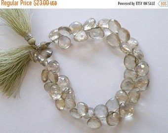 Mega SALE Green Quartz Gemstone Briolette AAA Mystic Faceted Heart Teardrop 9mm 1/2 Strand 20 beads