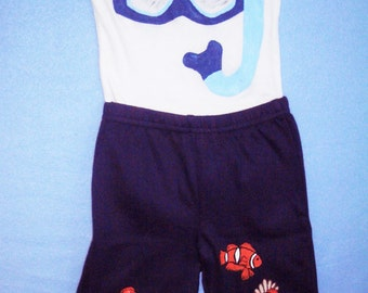 Baby Snorkel Outfit, Snorkeling Baby, Clown Fish and Snorkel Set, Baby Diver, Beach Baby Bodysuit and Pants Set