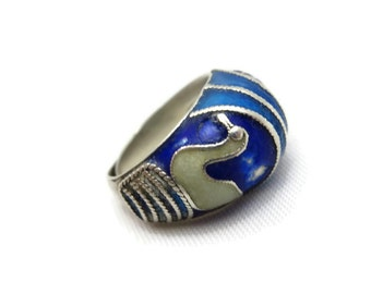 Enamel Silver Ring - Chinese Export, Blue, Swans, Adjustable
