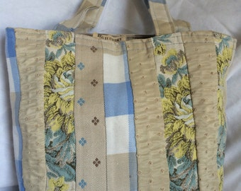 OOAK Medium Tote Bag Vintage China Blue Stripe