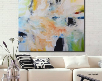 Large original acrylic painting, abstract painting, blue white painting, modern abstract art, modern painting, lobby decor, office art