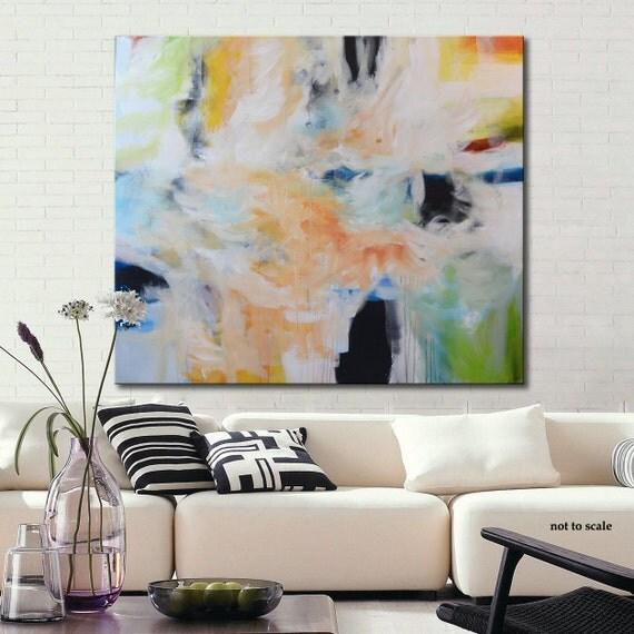 Gran pintura crylic original, pintura abstracta geométrica, azul y naranja, moderno arte abstracto, pintura moderna, arte enorme