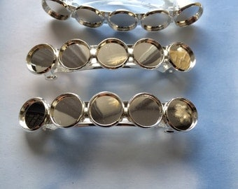 3 Hair Clip Blanks With 5 Bezels 12mm Each (AE639)