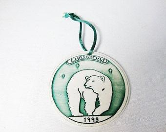 vintage polar bear porcelain christmas tree ornament dated 1993