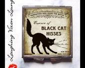 Black Cat Pill Box - Witch Spell Compact Mirror - Magic Spell Pill Case - Magic Potion Label - Purse Mirror - Black Cat Hisses