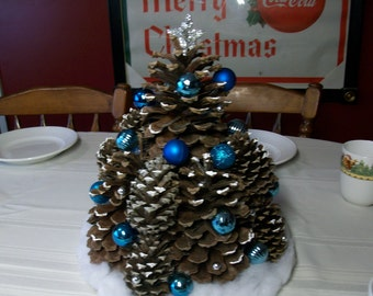 Christmas Pinecone Tree with Blue Ornaments