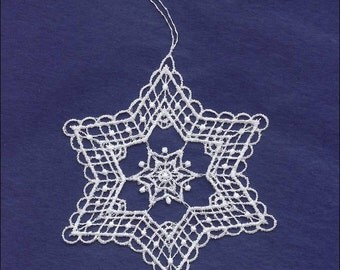 Germany Woven Cotton Thread Christmas White Snowflake Ornament For Crafting  LHS020