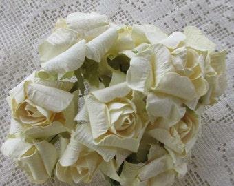 Paper Flowers 12 Handmade Crinkle Millinery Roses In Ivory #NSTR