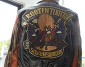 Reserved For Larry Six Gun Shootin' Vintage Jeff Hamilton Distressed Cowhide Fringed Western Leather Biker JACKET YOSEMITE SAM  Looney Tunes