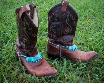 Turquoise Howlite Gemstone Western Cowboy Boot Jewelry Bootchains