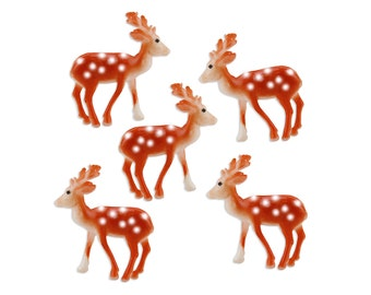 Small Deer Toppers - 12 miniature vintage inspired deer cupcake or cake toppers