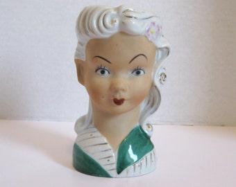 Vintage Porcelain Japan Head Vase Woman With Gold Trim