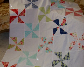 Aloha Girl Flannel Pinwheels Quilt Top/Baby or Crib Quilt