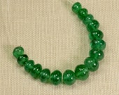 3.6mm-5.2mm Zambian EMERALD Smooth Rondelle Beads (16)