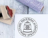 Custom Wedding Stamp - Wedding Cake, Custom Address Stamp, Wedding Address Stamp, Wooden Stamp, Self Inking Stamp, Rubber Stamp, Monogram