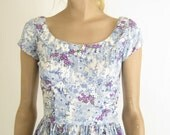 RESERVED..Vintage 40's/ 50's Floral Cotton Day  Dress. Size X Small