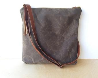 crossbody bucket bag • waxed canvas crossbody bag • dark brown waxed canvas - zipper top - travel bag - cross body tote • scout