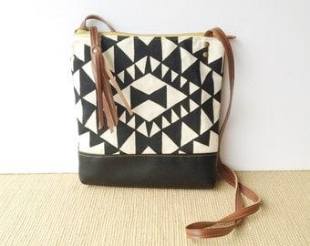 weekdayer • crossbody bag - black and white geometric print • handprinted - black faux leather - black canvas - iPad bag • vukani