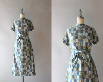 1950s Bow Belt Wiggle Dress / 1960s Chloroplast Print Polished Cotton Dress / 50s Stacy Ames Fitted Dress