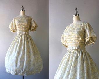 1950s Betty Barclay Dress / Vintage 50s Dress / 50s Sheer Cinderella Sleeve Bow Belt Dress