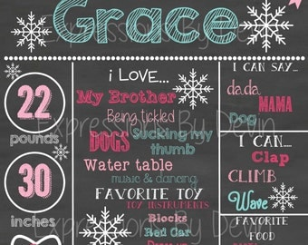 Winter ONEderland custom 1st  Birthday Chalkboard sign printable file ( Choose size 8x10, 11x14 or a 16x20