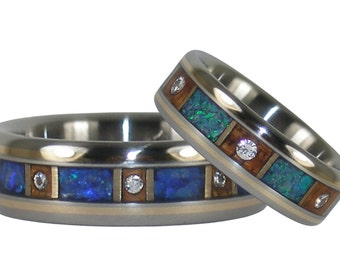 Green and Black Opal and Diamond Infinity Titanium Wedding Ring Set with 14kt Gold Inlay
