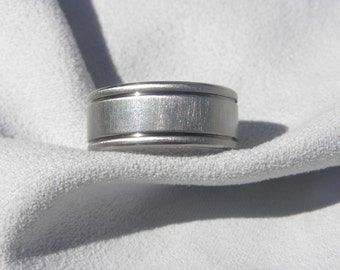 Titanium Ring, Wedding Band, Flat with Cut Grooves, Frosted