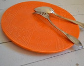 Papaya Wobbly Plate - FOULARD  pattern - dinner plate - ceramics - Wobbly Plates Series
