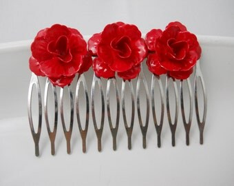 Hair Comb Red Metal Roses on Long Silver Comb Red Flowers Lipstick Red Enamel Unique Hair Clip Day of the Dead Flamenco Rockabilly