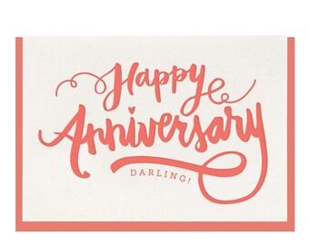 Letterpress 'Anniversary Darling' Greeting Card